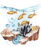 Marine Life Landscape - el océano y el mundo subacuático con diversos habitantes Concepto para los carteles, T del acuario Imagen de archivo