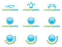 Marine life logo set. Fish, turtle, crab Vector Illustration