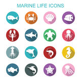 Marine life long shadow icons Stock Photography