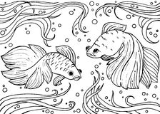 Marine life. Monochrom hand drawn background Stock Photo