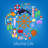 Marine Life with Sea Fish and Nautical Icons. Vector illustration Royalty Free Stock Photos