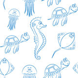 Marine life seamless background Royalty Free Stock Images