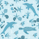 Marine life seamless pattern Stock Photos