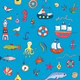Marine life seamless pattern funny doodle Stock Photos