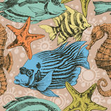 Marine life seamless pattern Royalty Free Stock Photo