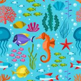 Marine life seamless pattern with sea animals Royalty Free Stock Photo