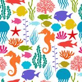 Marine life seamless pattern with sea animals Stock Photo
