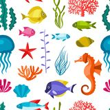 Marine life seamless pattern with sea animals Royalty Free Stock Images