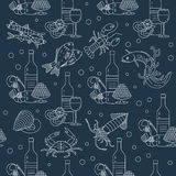 Marine life seamless vector pattern. Stock Images