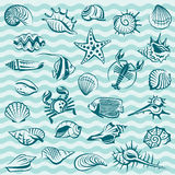 Marine life set. Collection of seashells, crabs and fish on blue background Stock Photo