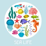 Marine life set of icons, objects and sea animals Stock Images