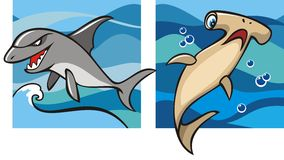 Marine life: sharks. Marine life, gray shark and hammerhead shark against a backdrop of the sea waves, set of two cartoon pictures, vector illustration Stock Photos