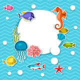 Marine life sticker background with sea animals Stock Image