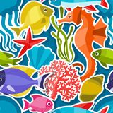 Marine life sticker seamless pattern with sea Stock Photos