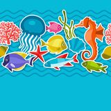 Marine life sticker seamless pattern with sea Royalty Free Stock Images