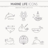 Marine life thin line icon set Stock Photo