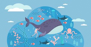 Free Marine Life Vector Illustration. Flat Tiny Sea Or Ocean Fishes And Animals. Stock Photo - 162437740