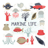Marine Life Vector Illustrations Set Photographie stock libre de droits