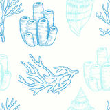 Marine life. Vector seamless pattern Stock Photos
