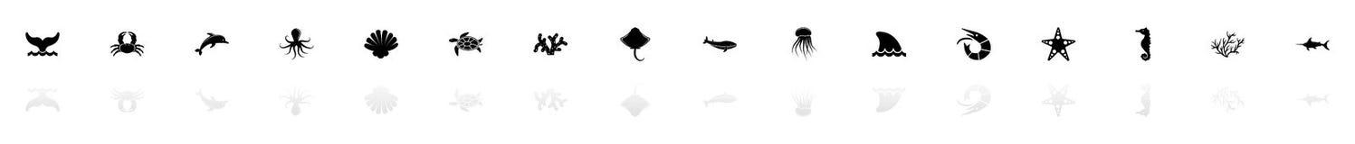 Marine Life - Vlakke Vectorpictogrammen stock illustratie