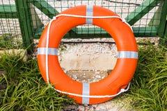 Marine lifebuoy on fence. Safe for swim Royalty Free Stock Photo