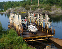 A marine lift in northern ontario Stock Photography