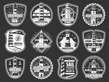 Marine lighthouse and beacon icons. Nautical lighthouse, beacon and marine compass winds rose icons. Vector seafarer ocean spirit and sea travel cruise symbols royalty free illustration