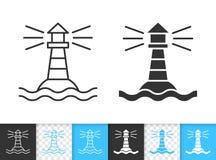 Marine lighthouse simple black line vector icon vector illustration