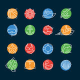 Marine line color icon circle Royalty Free Stock Photography