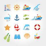 Marine line color icon2 Stock Images