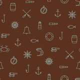 Marine line icons seamless pattern on brown background Royalty Free Stock Image