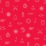 Marine line icons seamless pattern on red background Royalty Free Stock Image