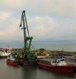 Marine loading crane. Barge, Kerch ferry on the Black Sea Stock Photo