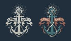 Marine logo, with anchor and heraldic ribbons royalty free illustration