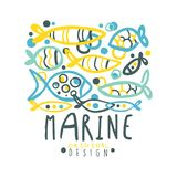 Marine logo design, summer travel and sport hand drawn colorful vector Illustration. For stickers, banners, cards, advertisement, tags Royalty Free Stock Images
