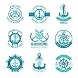 Marine Logo. Nautical Vector Emblem With Ship Anchors And Steering Wheels. Cruise Boat Sailor Monochrome Symbols For Stock Images