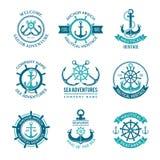 Marine Logo Seevektoremblem mit den Schiffsanker- und Lenkrädern Einfarbige Symbole des Kreuzfahrtboots-Seemanns für lizenzfreie abbildung