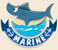Marine logo with shark Stock Photography