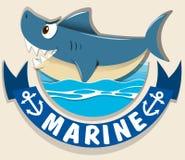 Marine logo with shark Stock Photography