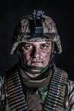 Marine machine gunner with ammo belts on chest stock photos