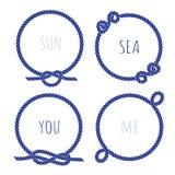 Marine mariene kabel om de vectorreeks van het ontwerpkader Royalty-vrije Stock Foto's