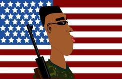Marine met Amerikaanse vlag royalty-vrije illustratie