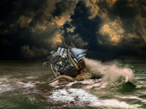 Marine monster. On the ocean, under stormy clouds, gigantic squid attacking a sailboat Stock Images