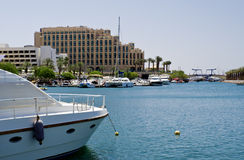 Marine with moored yachts, Eilat, Israel Stock Images
