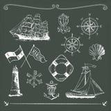 Marine motifs on chalkboard. 13 marine motiefs on chalkboard Royalty Free Stock Photography