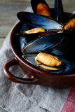 Marine mussels in a brown bowl Royalty Free Stock Photo