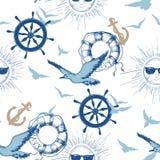 Marine naadloos patroon royalty-vrije illustratie
