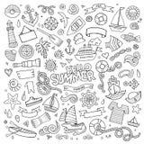 Marine nautical hand vector symbols and objects Royalty Free Stock Photo