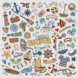 Marine nautical hand vector symbols and objects Stock Photos