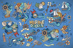 Marine nautical hand vector symbols and objects Stock Photography